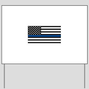 Thin Blue Line Decal - USA Flag - Red, B Yard Sign