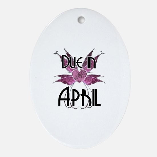 Due In April Fairy Wings Oval Ornament