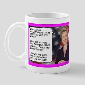 """Hillary's qualifications"" Mug"