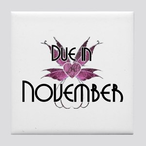 Due In November Fairy Wings Tile Coaster