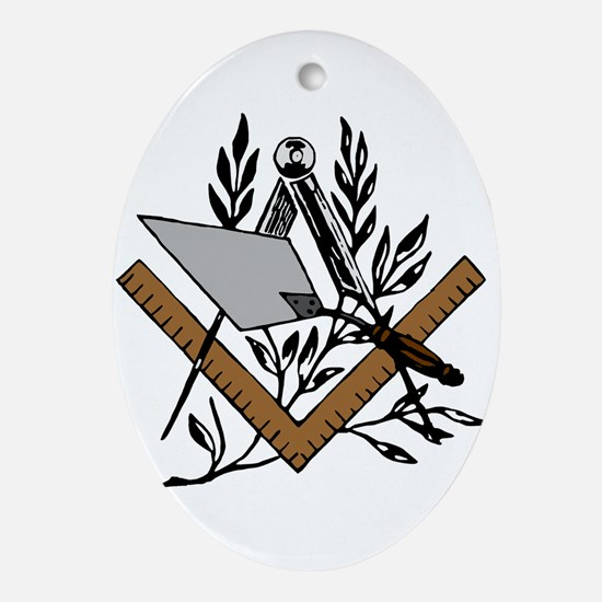 Masonic S&C with Trowel Oval Ornament