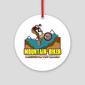 Mountain Biker Freedom Ornament (Round)
