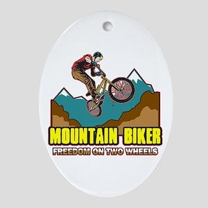 Mountain Biker Freedom Oval Ornament