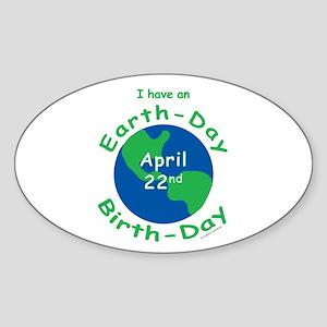 Earth Day Birthday Sticker (Oval)