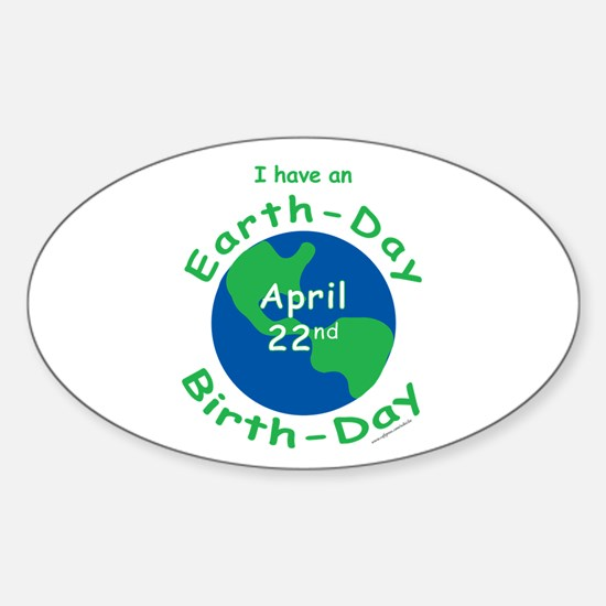 Earth Day Birthday Sticker (Oval)