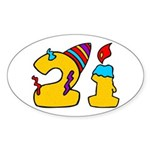 21st Birthday Party Favors! Oval Sticker (10 pk)