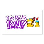 21st Birthday Party Favors! Rectangle Sticker