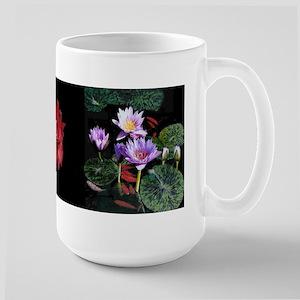 Water Lilies / Amaryllis large mug (black band)