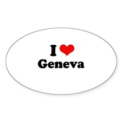 I love Geneva Oval Sticker (10 pk)