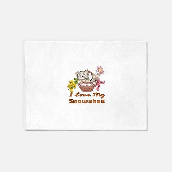 I Love My Snowshoe Designs 5'x7'Area Rug