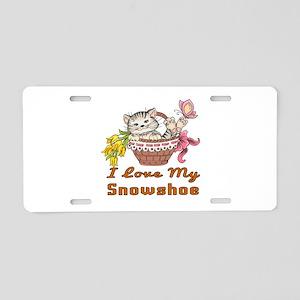 I Love My Snowshoe Designs Aluminum License Plate
