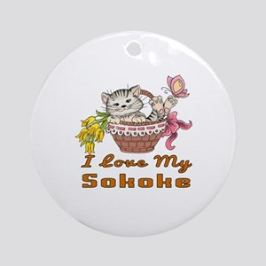 I Love My Sokoke Designs Round Ornament