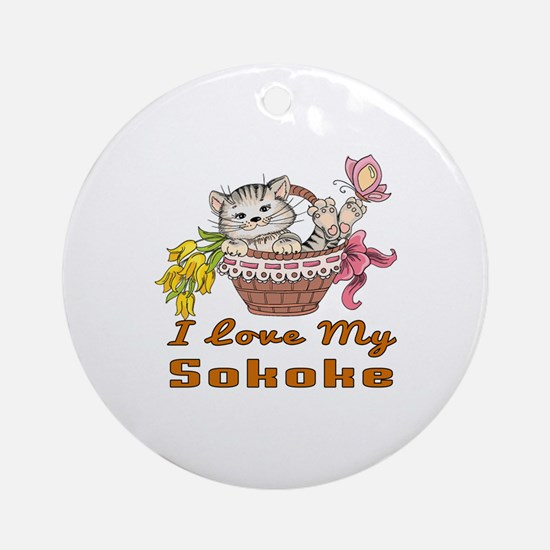 I Love My Sokoke Designs Round Ornament