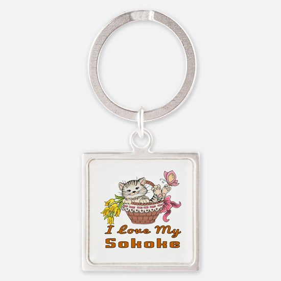 I Love My Sokoke Designs Square Keychain
