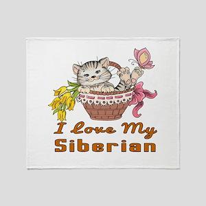I Love My Siberian Designs Throw Blanket