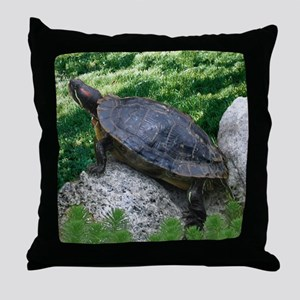Turtle and Rocks Throw Pillow