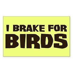 I Brake For Birds Rectangle Decal