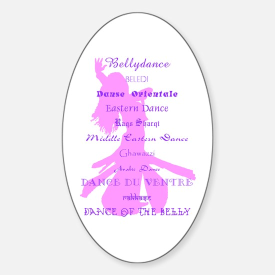 Names of Bellydance pink & pu Oval Decal