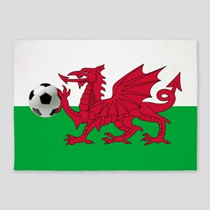 Wales Football Flag 5'x7'area Rug