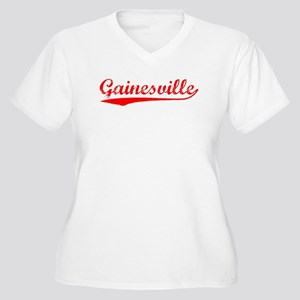 Vintage Gainesville (Red) Women's Plus Size V-Neck