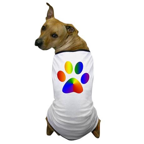 Rainbow Gay Pride Dog Paw Dog T-Shirt