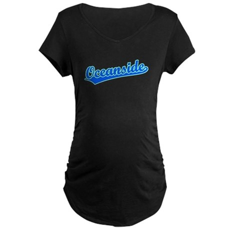 Retro Oceanside (Blue) Maternity Dark T-Shirt