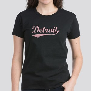 Vintage Detroit (Pink) Women's Dark T-Shirt