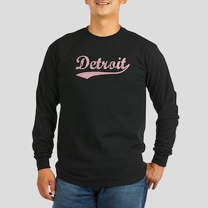 Vintage Detroit (Pink) Long Sleeve Dark T-Shirt