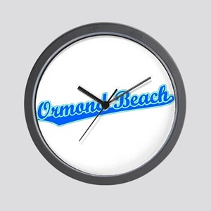 Retro Ormond Beach (Blue) Wall Clock