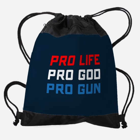 Pro Life, God, Gun Drawstring Bag
