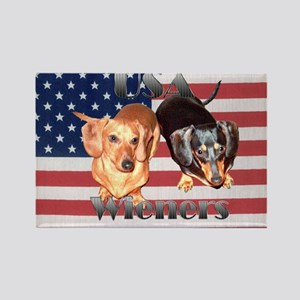 USA Wieners Rectangle Magnet