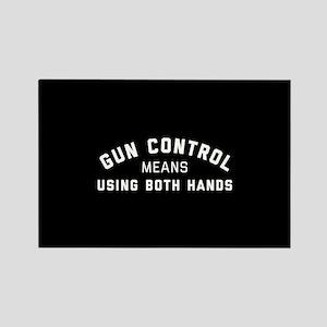 Gun Control Means Both Hands Rectangle Magnet