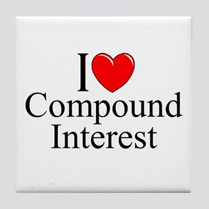 """I Love (Heart) Compound Interest"" Tile Coaster"