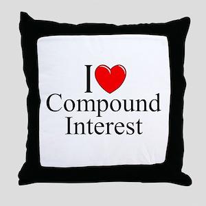 """I Love (Heart) Compound Interest"" Throw Pillow"