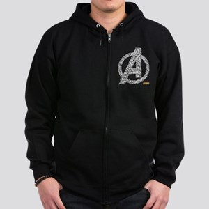 Avengers Infinity War Names Zip Hoodie (dark)
