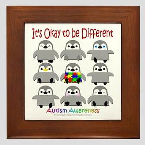 Autism Awareness Penguins Framed Tile