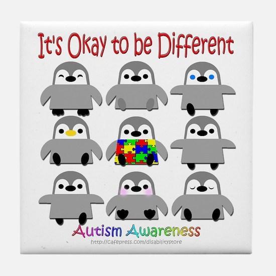 Autism Awareness Penguins Tile Coaster
