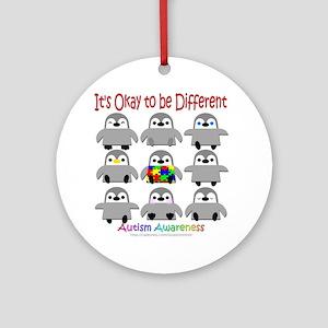 Autism Awareness Penguins Ornament (Round)