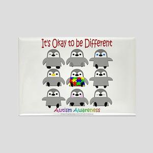 Autism Awareness Penguins Rectangle Magnet