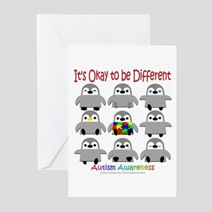Autism Awareness Penguins Greeting Cards (Pk of 10