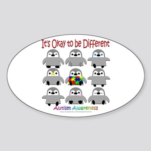 Autism Awareness Penguins Oval Sticker