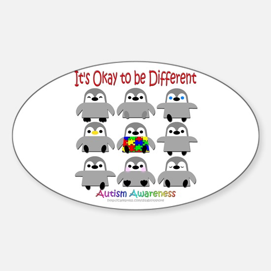 Autism Awareness Penguins Oval Decal