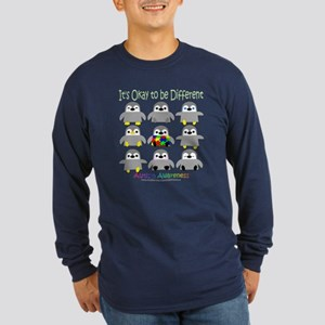 Autism Awareness Penguins Long Sleeve Dark T-Shirt