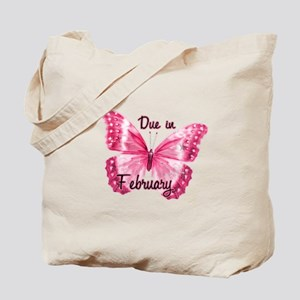 Due February Sparkle Butterfly Tote Bag