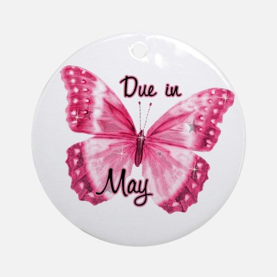 Due May Sparkle Butterfly Ornament (Round)
