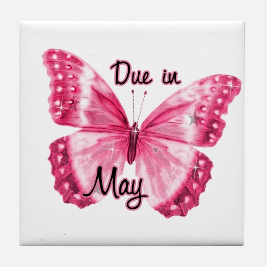 Due May Sparkle Butterfly Tile Coaster