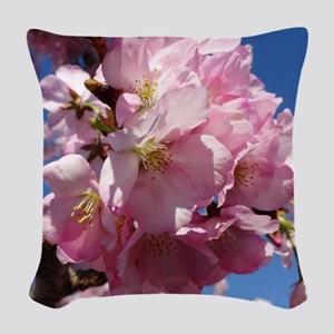 Pink Cherry Blossoms Woven Throw Pillow