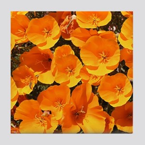 Helaine's California Poppies Tile Coaster