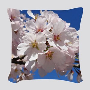 White Cherry Blossoms Woven Throw Pillow