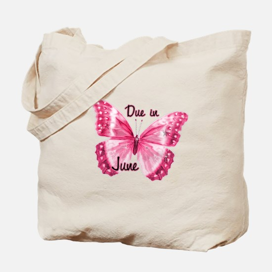 Due June Sparkle Butterfly Tote Bag